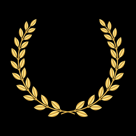 Gold laurel wreath. Symbol of victory and achievement. Design element for decoration of medal, award, coat of arms or anniversary logo. Golden leaf silhouette on black background. Vector illustration.