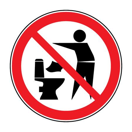 Ne pas jeter dans les toilettes icône. Garder le signe propre. Silhouette d'un homme, jeter des ordures dans un bac, dans le cercle isolé sur fond blanc. Aucun symbole d'avertissement de détritus. Information publique. Vector illustration