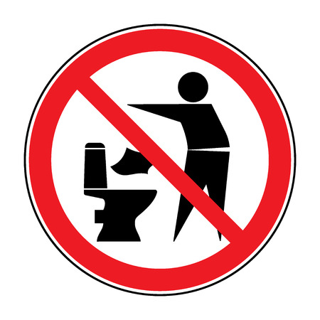 toilete: No tire basura en el icono de aseo. Mantenga la muestra limpia. Silueta de un hombre, tirar la basura en un contenedor, en el c�rculo aislado en el fondo blanco. No tirar basura s�mbolo de advertencia. Informaci�n p�blica. ilustraci�n vectorial Vectores