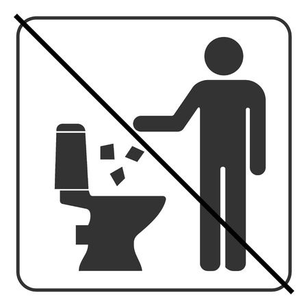 warning signs: Do not litter in toilet icon. Keep clean sign. Silhouette of a man, throw garbage in a bin, in square isolated on white background. No littering warning symbol. Public Information. Vector illustration