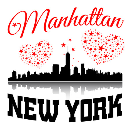t shirt printing: New York city Typography Graphic. Hearts and stars. Skyline Manhattan. Fashion stylish printing design for t shirt and sports wear. NYC logo. Label USA. For apparel, card, poster. Vector illustration. Illustration