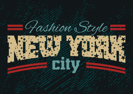 New York city Typography Graphic. Fashion stylish printing design for t shirt and sports wear. NYC logo. Label USA. T-shirt Design for apparel, card, poster etc. Symbol of freedom. Vector illustration Ilustracja