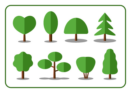 shrubs: Tree icons set. Nature collection. Trendy and beautiful set of flat floral elements, isolated on white background. Include deciduous, coniferous trees, shrubs. Sprites for the game. Stock illustration