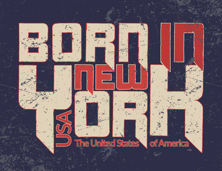 New York city Typography Graphic Quote. Grunge. Fashion stylish printing NYC template for t shirt and sports wear. Label USA. Design apparel, card, poster, etc. Symbol of freedom. Vector illustration. Illustration