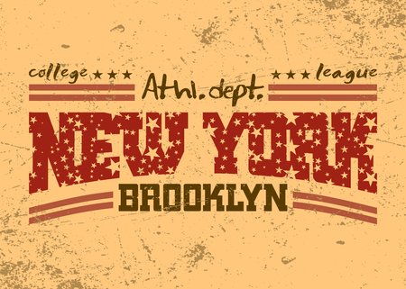 athletic wear: New York city Typography Graphic. Brooklyn athletic department. Grunge vintage style. Fashion stylish printing NYC template for t shirt, sports wear. Design apparel, card, poster. Vector illustration.