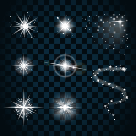 scintillation: Shine stars with glitters and sparkles icons set. Effect twinkle, glare, scintillation element sign, graphic light. Transparent design elements on dark background. Varied template. Vector illustration Illustration