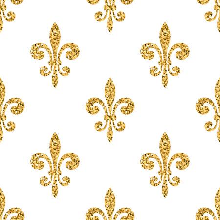 Golden fleur-de-lis seamless pattern. Gold glitter and white template. Floral texture. Glowing fleur de lis royal lily. Design vintage for card, wallpaper, wrapping, textile, etc. Vector Illustration.
