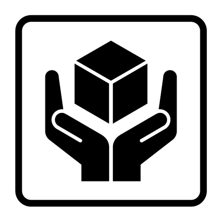 handle with care: Handle with care sign in a black square. Fragile or packaging symbol. Fragile cardboard black icon isolated on a white background. Stock vector illustration