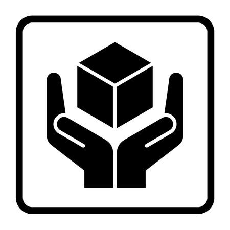 Manejar con cuidado la muestra en un cuadrado negro. Frágil o embalaje símbolo. Frágil cartón icono negro aislado en un fondo blanco. Ilustración vectorial material