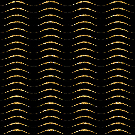 waves pattern: Gold wave seamless pattern. Golden glitter on black background. Abstract geometric wavy texture. Retro Vintage decoration. Design template graphic wallpaper, wrapping, fabric, etc. Vector Illustration