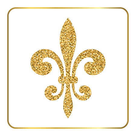symbol fleur de lis: Golden fleur-de-lis heraldic emblem. Gold glitter sign isolated on white background. Design lily insignia element. Glowing french fleur de lis royal lily. Elegant decoration symbol Vector Illustration
