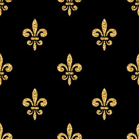 Golden fleur-de-lis seamless pattern. Gold glitter and black template. Floral texture. Glowing fleur de lis royal lily. Design vintage for card, wallpaper, wrapping, textile, etc. Vector Illustration. Vectores