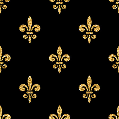 Golden fleur-de-lis seamless pattern. Gold glitter and black template. Floral texture. Glowing fleur de lis royal lily. Design vintage for card, wallpaper, wrapping, textile, etc. Vector Illustration. Ilustracja