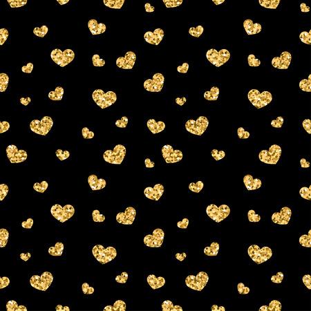 Goldene Herzen nahtlose Muster. Gold-Glitter und schwarz Vorlage. Abstrakte geometrische Textur. Retro. Valentinstag-Design-Vorlage für die Karte, Tapete, Verpackung, Textil, Stoff etc. Vektor-Illustration