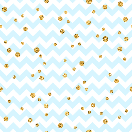 zig zag: Golden polka dot seamless pattern. Gold confetti glitter zigzag. Geometric blue and white zig zag texture. Valentine day or christmas design for card, wallpaper, wrapping, textile. Vector Illustration
