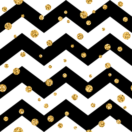 zig zag: Golden polka dot seamless pattern. Gold confetti glitter zigzag background. Geometric black and white zig zag texture. Valentine day or christmas design for card, wrapping, textile Vector Illustration