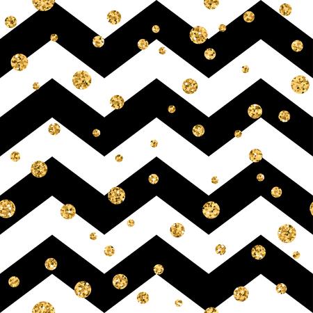 Goldene Polkapunkt nahtlose Muster. Gold-Konfetti Glitter Zick-Zack-Hintergrund. Geometrische schwarze und weiße Zickzack-Textur. Valentinstag oder Weihnachten, Design für die Karte, Verpackung, Textil-Vektor-Illustration Standard-Bild - 54127277