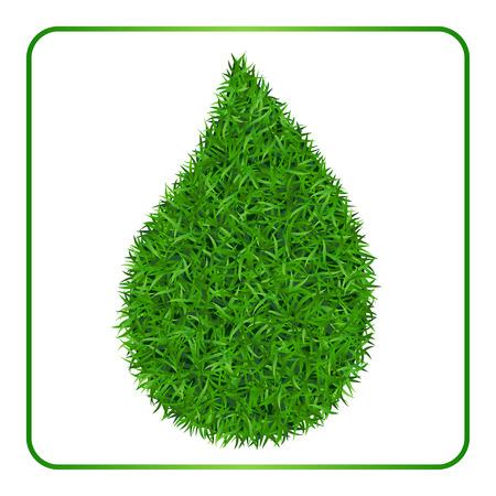 Drop zielonej trawie tle. Lawn natury. Abstrakcyjne tekstury pola. Symbol lata, roślina, naturalny naturalny, wzrost lub świeże. Projekt dla karty, baner. Szablon łąka dla produktów drukarskich Ilustracji wektorowych