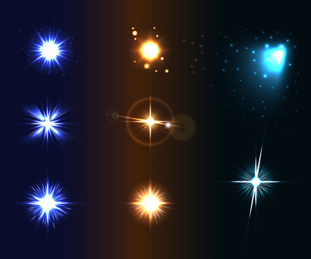 varied: Shine disco color stars. Flare and sparkles colorful icons set. Effect twinkle, glare, magic glow, graphic light. Burst and blur design elements on dark background. Varied template Vector illustration