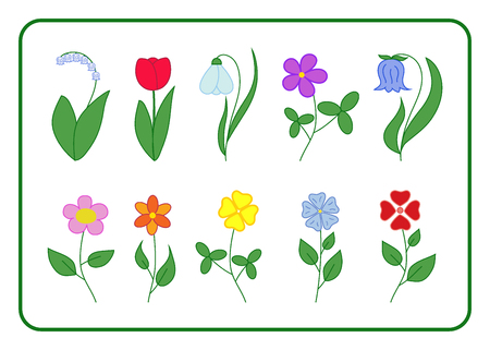 Tree cartoon flower icons set. Nature floral flat signs isolated on white background. Summer and spring tulip, bell, lily of the valley, chamomile, snowdrop, bucaneve, clover, rose Vector illustration