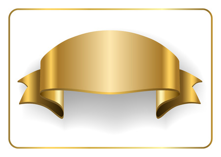 golden ribbon: Gold satin empty ribbon. Golden blank banner. Design decoration element, isolated on white background. Vintage retro style. Template flag, greeting, card. Symbol guarantee product. Vector illustration