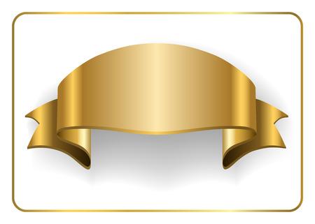 Goud Satijnen Leeg Lint Golden Lege Banner Ontwerp Decoratie