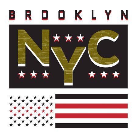 New York Brooklyn Typography on white background with american flag. Sport T shirt fashion graphics. Symbol of champion. Design red print for sportswear apparel. NYC original wear. Vector illustration Vektoros illusztráció