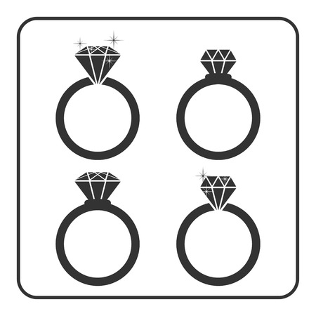 engagement silhouette: Diamond engagement ring icons set. Shiny crystal signs. Black circle silhouette isolated on white background. Flat fashion design element. Symbol engagement, gift, jewel, expensive Vector Illustration