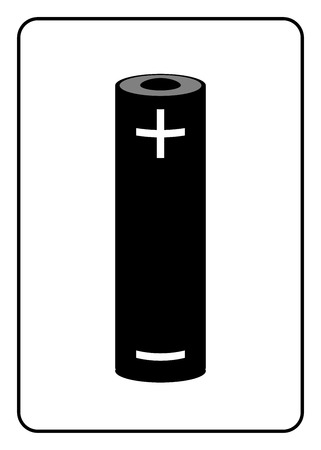 alkaline: Battery icon. Black sign isolated on white background. Symbol of energy, electricity, charger and power, charge, generation. Design element. Label for supply. Alkaline accumulator. Vector illustration