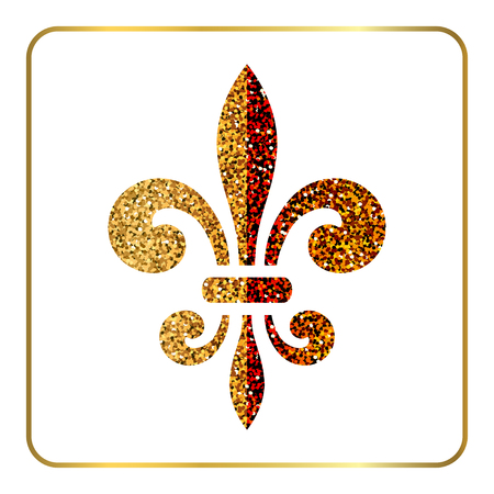 royal french lily symbols: Golden fleur-de-lis heraldic emblem. Gold glitter sign isolated on white background. Design lily insignia element. Glowing french fleur de lis royal lily. Elegant decoration symbol Vector Illustration