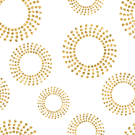 gold circle: Gold concentric circle seamless pattern. Golden glitter on white background. Abstract geometric round chaotic texture. Vintage. Design graphic wallpaper, wrapping, fabric, textile. Vector Illustration Illustration