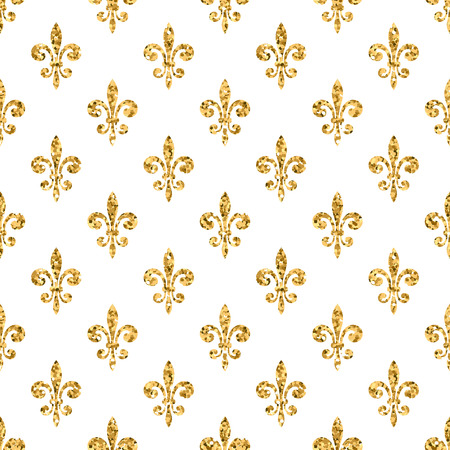 royal french lily symbols: Golden fleur-de-lis seamless pattern. Gold glitter and white template. Floral texture. Glowing fleur de lis royal lily. Design vintage for card, wallpaper, wrapping, textile, etc. Vector Illustration.