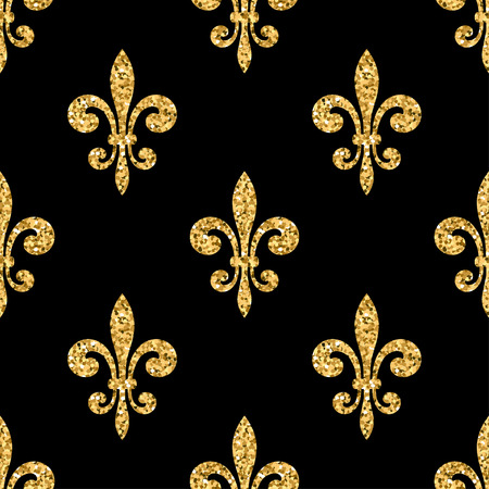 royal french lily symbols: Golden fleur-de-lis seamless pattern. Gold glitter and black template. Floral texture. Glowing fleur de lis royal lily. Design vintage for card, wallpaper, wrapping, textile, etc. Vector Illustration. Illustration