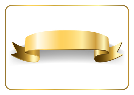 Gold satin empty ribbon. Golden blank banner. Design decoration element, isolated on white background. Vintage retro style. Template flag, greeting, card. Symbol guarantee product. Vector illustration