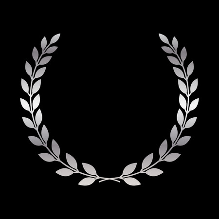 Silver laurel wreath icon. Symbol award, trophy, victory, winner, prize. Branch olive sign. Design element for decoration medal, coat of arms  . Leaf silhouette black background Vector illustration