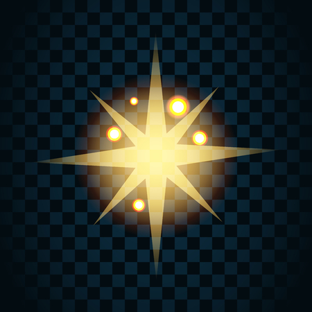 twinkle: Shine gold star with glitter and golden sparkle icon. Effect twinkle, glare, glowing, graphic light sign. Transparent glow design element on dark background. Template bright flash. Vector illustration