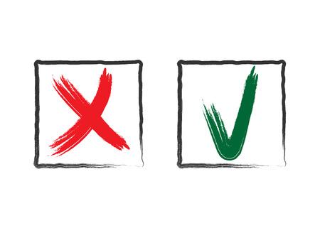 Vinkje Icons. Vink en steek de rode en groene borden in frames, geïsoleerd op een witte achtergrond. Symbool stem, onderzoek, examen, vraag. Goed of fout keuze. Borstel grunge hand tekening. vector illustratie Vector Illustratie