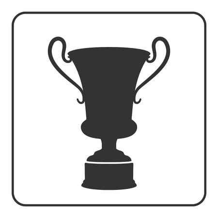 greek pot: Amphora icona. Antico vaso di ceramica firmare con maniglia. stile grafico piatto. Elemento di design. Silhouette nel telaio isolato su sfondo bianco. Simbolo della cultura greco pentola storia antica. illustrazione di vettore