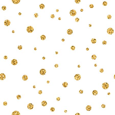 Modelo de lunares sin fisuras. brillo del oro y de la plantilla blanca. textura geométrica abstracta. Círculos de oro. decoración retro. Diseño del papel pintado plantilla, embalaje, etc. tejido Ilustración Vector Foto de archivo - 55426508