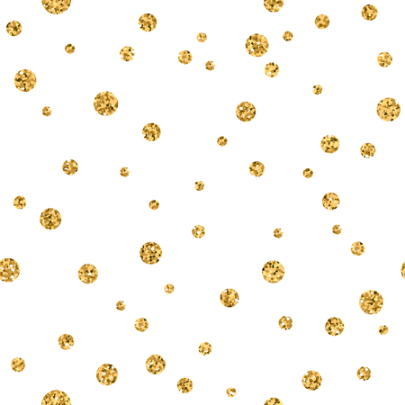 Polka dots seamless pattern. Gold glitter and white template. Abstract geometric texture. Golden circles. Retro Vintage decoration. Design template wallpaper, wrapping, fabric etc. Vector Illustration