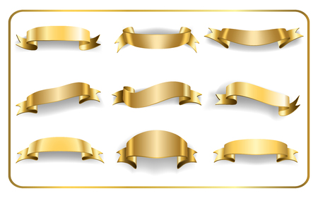 blanks: Gold ribbons set. Satin blank banners collection. Design label scroll blanks element, isolated on white background.  Empty template for greeting or advertising. Symbols decoration. Vector illustration