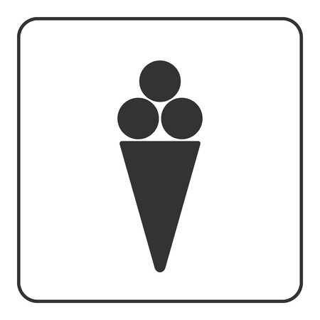 flavor: Ice cream icon. Ice-cream cool waffle cone sign. Black object isolated on white background. Symbol of delicious dessert, sweet cold food, summer, tasty flavor. Flat design element. Vector illustration