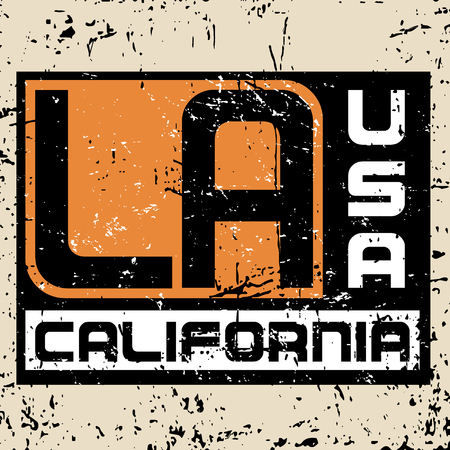 Los Angeles city Typography Graphic. Fashion stylish printing design for t shirt and sports wear. California logo. Label CA. Design for apparel, card, poster etc. Grunge separate. Vector illustration.