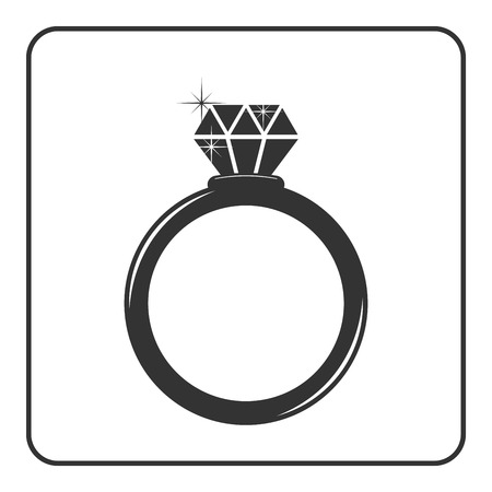 expensive: Diamond engagement ring icon. Shiny sparkle crystal sign. Black circle silhouette isolated on white background Flat fashion design element. Symbol engagement, gift, jewel expensive Vector Illustration Illustration