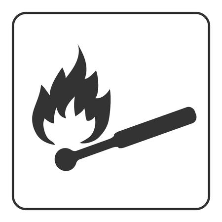 ignite: Matchstick icon. Hot ignite match sign. Black flame and wood silhouette, isolated on white background. Drawing graphic retro element. Symbol burn, hot, danger. Flat design concept. Vector illustration