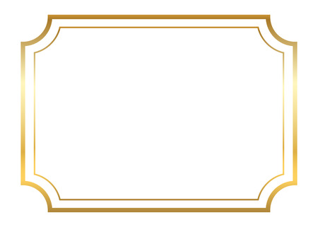 gold corner: Gold frame. Beautiful simple golden design. Vintage style decorative border, isolated on white background. Deco elegant art object. Empty copy space for decoration, photo, banner. Vector illustration.