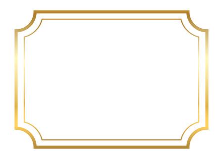 Gold frame. Belle conception d'or simple. Vintage style bordure décorative, isolé sur fond blanc. Deco objet d'art élégant. copie espace vide pour la décoration, photo, bannière. Vector illustration.