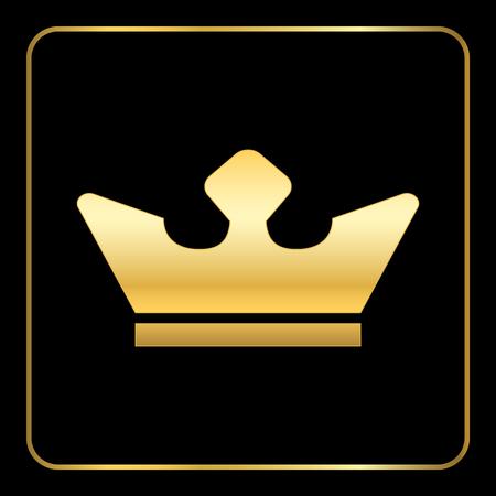 trono: icono de oro de la corona. Reales de oro del icono de la silueta sobre fondo negro. Símbolo del rey, trono, la reina o la joyería, la autoridad, reino. Monarch concepto de lujo moderno diseño plano. ilustración vectorial Vectores