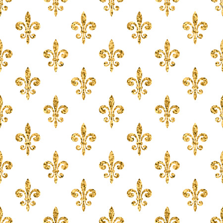 Golden fleur-de-lis seamless pattern. Gold glitter and white template. Floral texture. Glowing fleur de lis royal lily. Design vintage for card, wallpaper, wrapping, textile, etc. Vector Illustration.