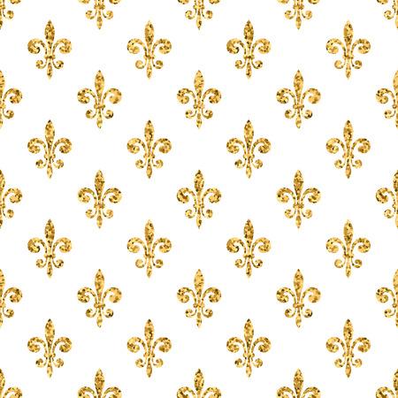 Goldene Fleur-de-lis nahtlose Muster. Gold-Glitter und weißen Vorlage. Blumenbeschaffenheit. Glühende Fleur de Lis königliche Lilie. Design Vintage für Karte, Tapete, Verpackung, Textil, usw. Vektor-Illustration.